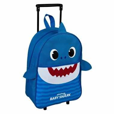 Vakantie baby shark daddy trolley/reiskoffer blauw 40 cm voor kinderen