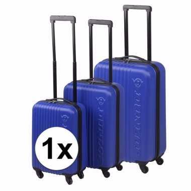 Vakantie blauwe dunlop reiskoffer 56 cm