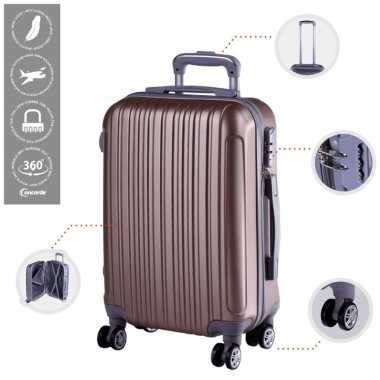 Vakantie cabine trolley koffer met zwenkwielen 33 liter goud