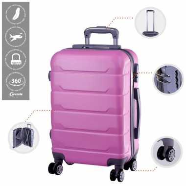 Vakantie cabine trolley koffer met zwenkwielen 33 liter roze