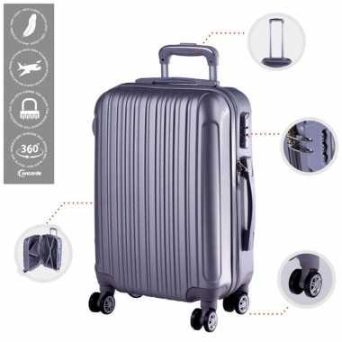 Vakantie cabine trolley koffer met zwenkwielen 33 liter zilver