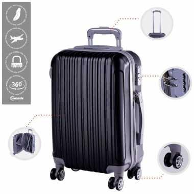 Vakantie cabine trolley koffer met zwenkwielen 33 liter zwart