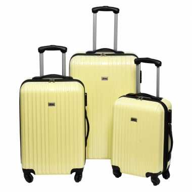 Vakantie gele grote reiskoffer 66 cm