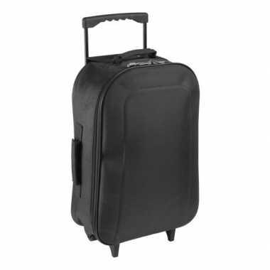 Vakantie handbagage reiskoffer/trolley zwart 46 cm
