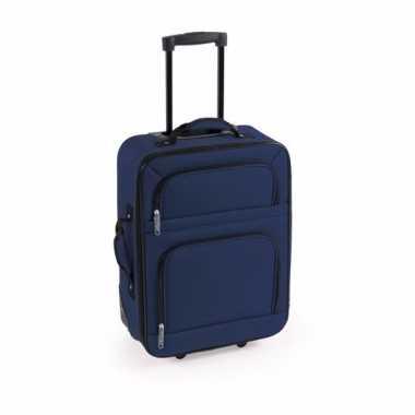 Vakantie handbagage trolley blauw 50 cm
