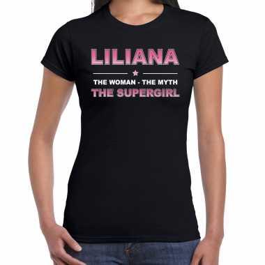 Vakantie naam cadeau t-shirt / shirt liliana - the supergirl zwart voor dames