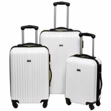 Vakantie witte grote reiskoffer 66 cm