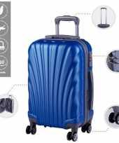 Vakantie cabine trolley koffer met zwenkwielen 33 liter blauw