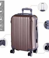 Vakantie cabine trolley koffer met zwenkwielen 33 liter goud 10296515