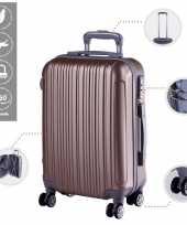 Vakantie cabine trolley koffer met zwenkwielen 33 liter goud 10296521