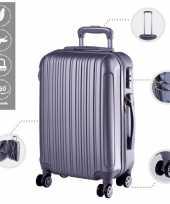 Vakantie cabine trolley koffer met zwenkwielen 33 liter zilver 10296514