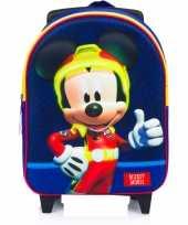 Vakantie mickey mouse trolley reiskoffer rugtas blauw 31 cm voor jongens