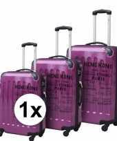Vakantie paarse reiskoffer met tekst 69 cm